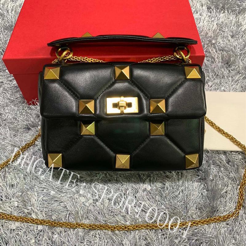 Luxury designer Shoulder Bags Napa Leather chain nail Fashion Bag high quality handbag gold rivet flip over cross body handbags