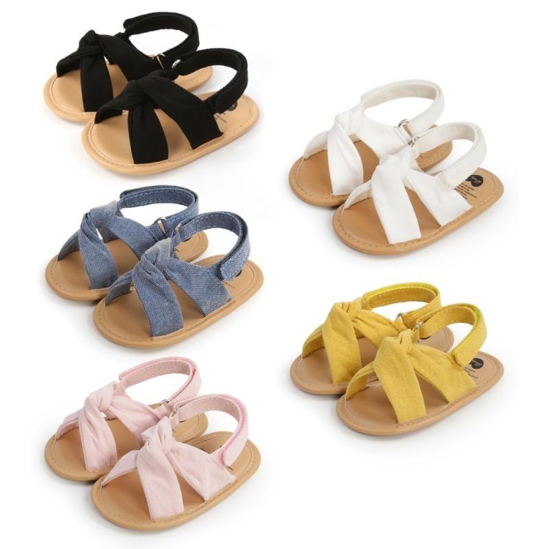 태어난 아기 소녀 소년 샌들 소프트 솔 플랫 신발 유아 미끄럼 방지 첫 번째 워커 솔리드 컬러 아이 여름 0-18m