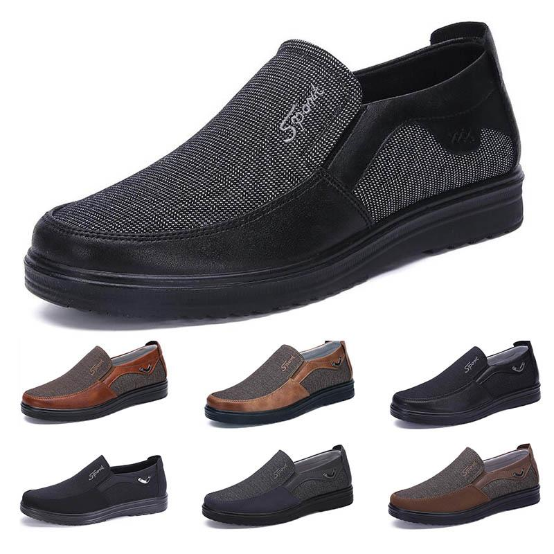 low Fashion Business style mens shoes comfortable breathable black brown dark pewter dlive soft flats bottoms men office split casual sneakers 38-44
