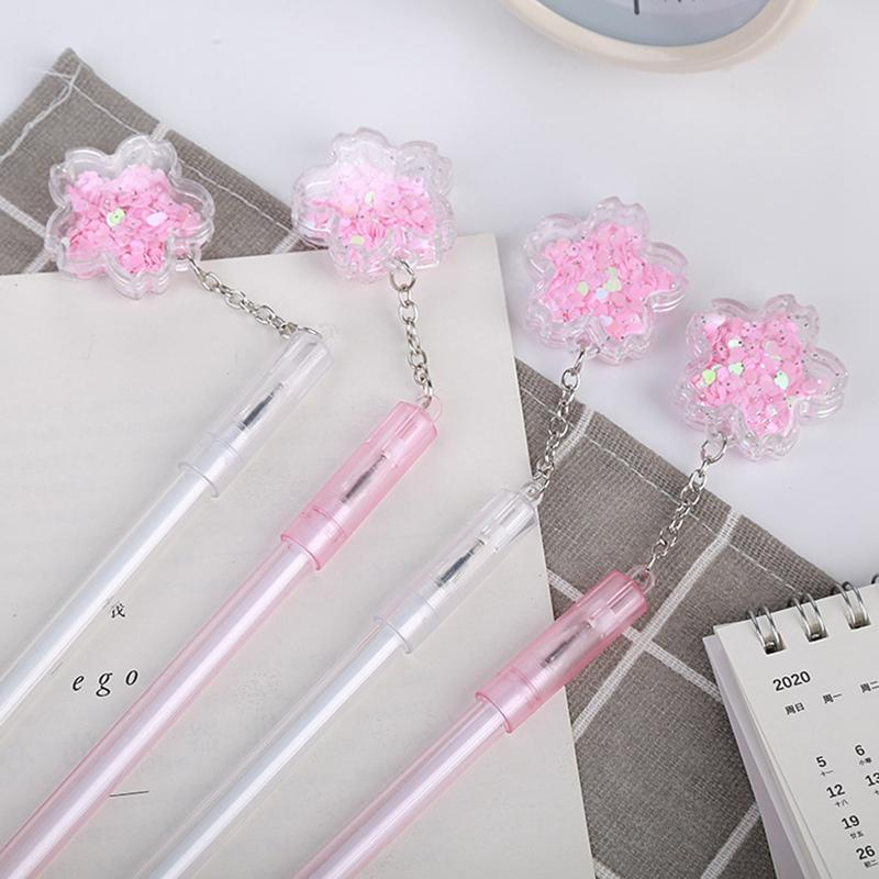 Cherry blossom pendant Gel Pen 0.5mm black Ink Pens for School Writing Tools Stationery Office Student Gift Supplies 0312