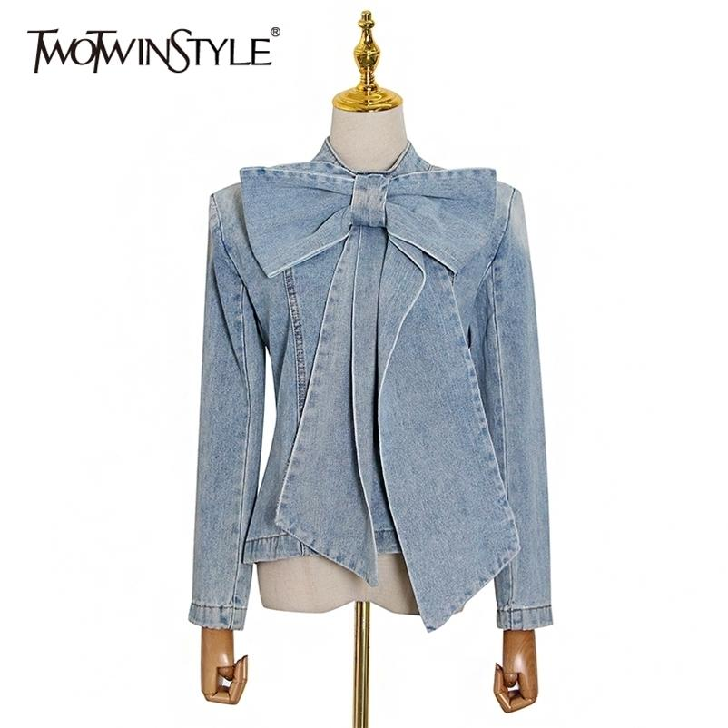 Twotwinstyle Katı Zarif Denim Gömlek Kadınlar Için O Boyun Uzun Kollu Fermuar Ince Bluz Kadın Yaz Moda Giyim Trend 210323