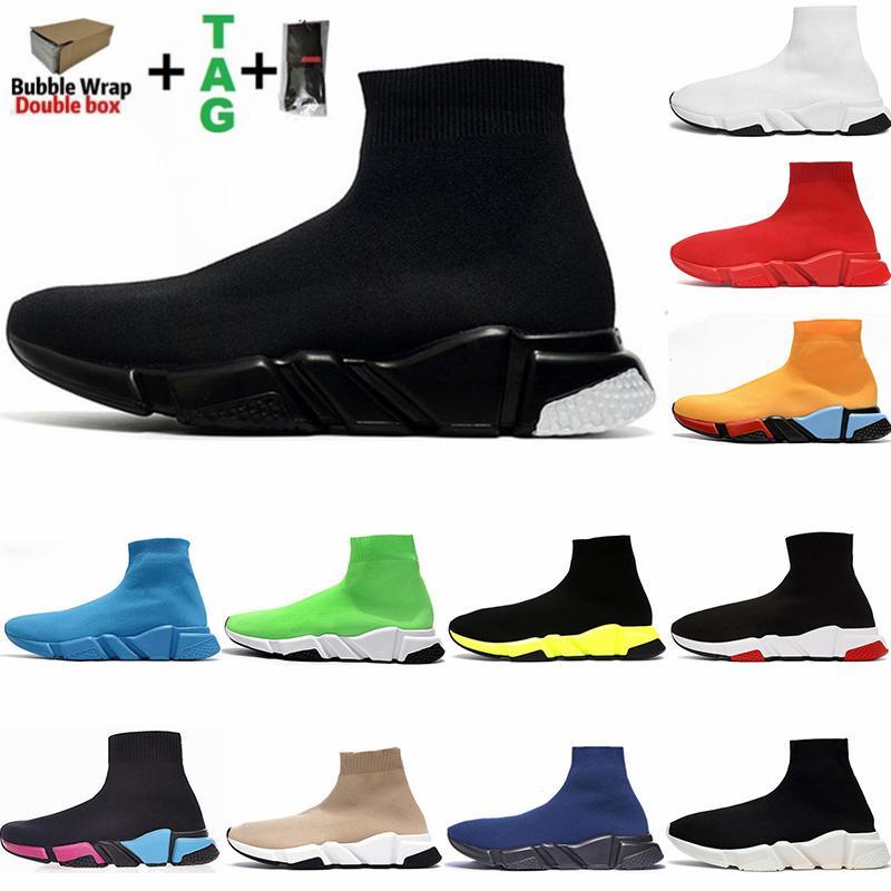 Mit Box Herren Socken Schuhe Schwarz Weiß Speed Damen Freizeitstiefel Stretch-Strick Race Runner Trainer Hochwertige Turnschuhe Mode Luxurys Designer Loafers