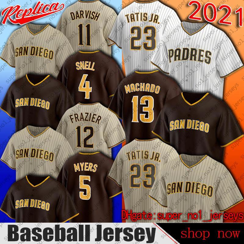 Padres 23 Fernando Tatis Jr JR Jersey 13 Manny Machado Adam Frazier Baseball Jerseys San Diego Wil Myers Yu Darvish Eric Hosmer Trent Grisham