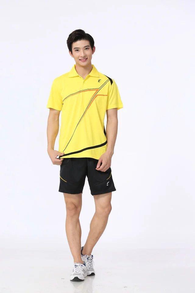 Top Qualität Badminton Wear Sets für Männer Gelbhemd mit Schwarzen Shorts Outdoor Apparel Tennis Tisch Athletic Set S5013-2