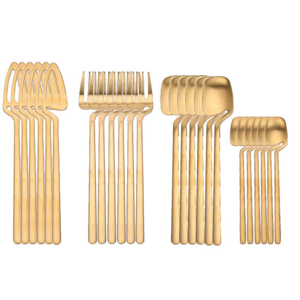 24 stücke 18/8 Edelstahl Geschirr Set Rose Gold Besteck Hängende Tasse Löffel Gabel Messer Western Cutleri Silberwaren Geschirr Geschirr