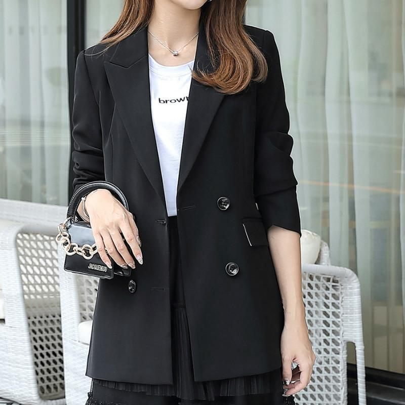 Women's Single Coat 2021 Autumn Fashion Casual Temperament Solid Color Double-breasted Small Suit Shirt Suits & Blazers