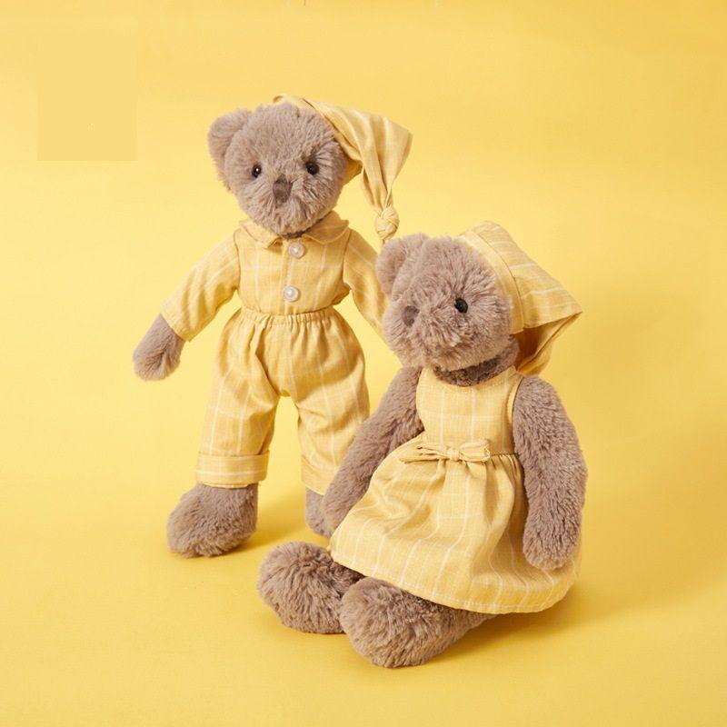 Sevimli Sarı Pijama Çift Ayı Çocuk Konfor Peluş Oyuncak Doğum Günü Hediyesi