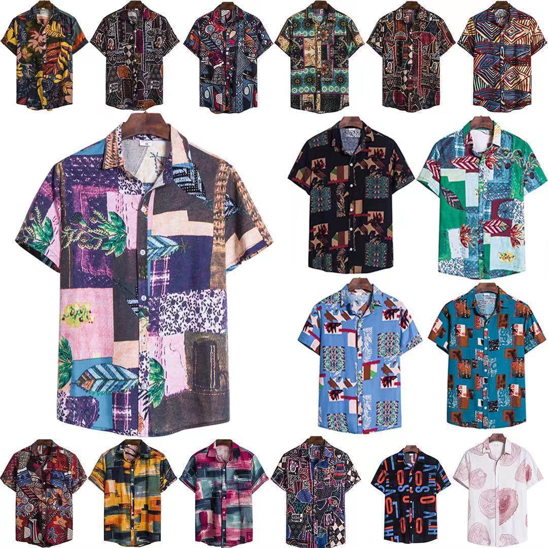 2021 verão nova moda casual forma havaiana manga curta floral camisa