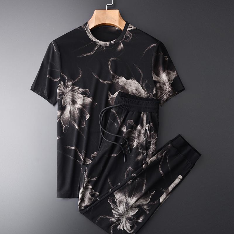남성용 Tracksuits 여름 (티셔츠 + 바지) allover 인쇄 짧은 소매 남자 플러스 사이즈 3XL 4XL 캐주얼 스포츠 남자가 바지와 함께 설정