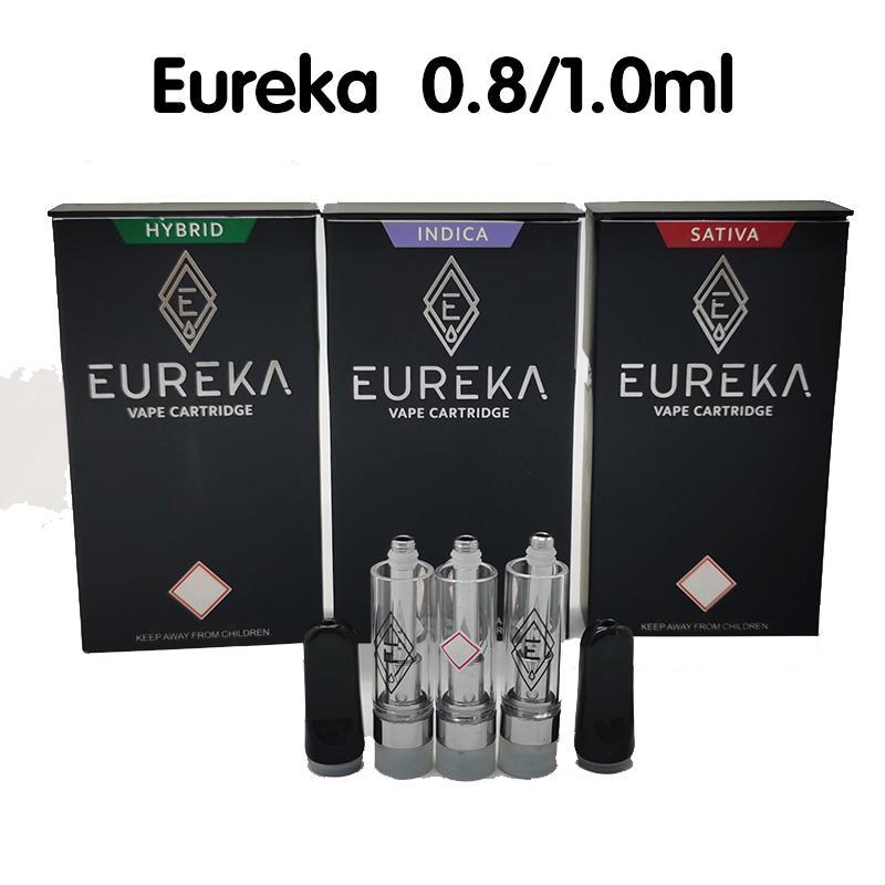 2021 Eureka Tape Cartridge толщиной масло Premium распылитель 0.8 мл 1,0 мл электронные сигареты Pyrex резервуар для резервуара пустые тележки ручка с дочерней упаковкой