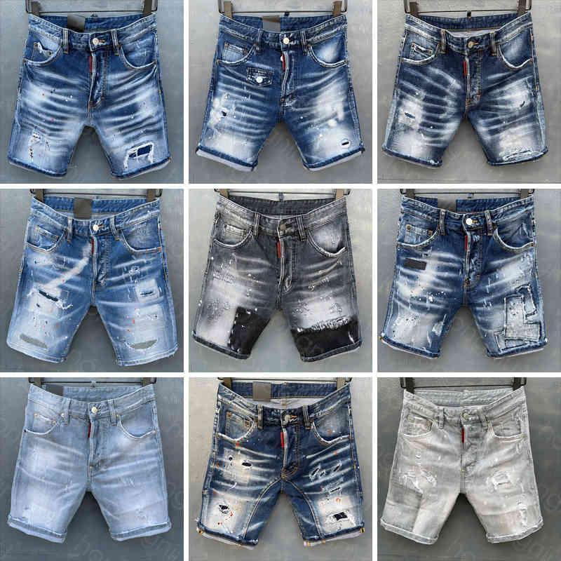Mens Curto Calças de Jeans Direto Holes Apertado Denim Calças Casuais Clube Azul Algodão Verão Itália Estilo HJ2