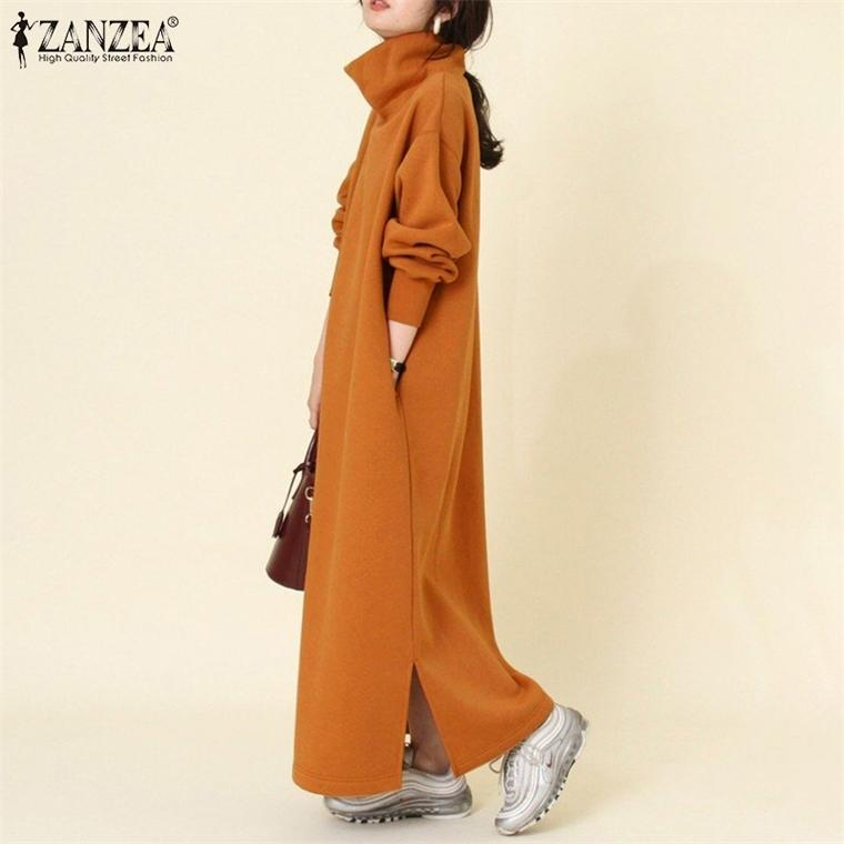 ZANZEA Dresses Women Ladies Turtleneck Vestidos Oversized Spring Solid Sundress Casual Long Sleeve Robe Femme 5XL
