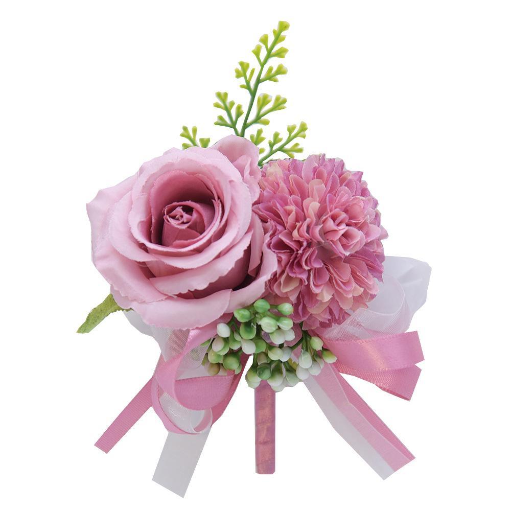 Flor pulso corsage boutonniere pulseira artificial vermelho rosa peônia rosa corsages casamento dama de honra festa terno decoração zze5373