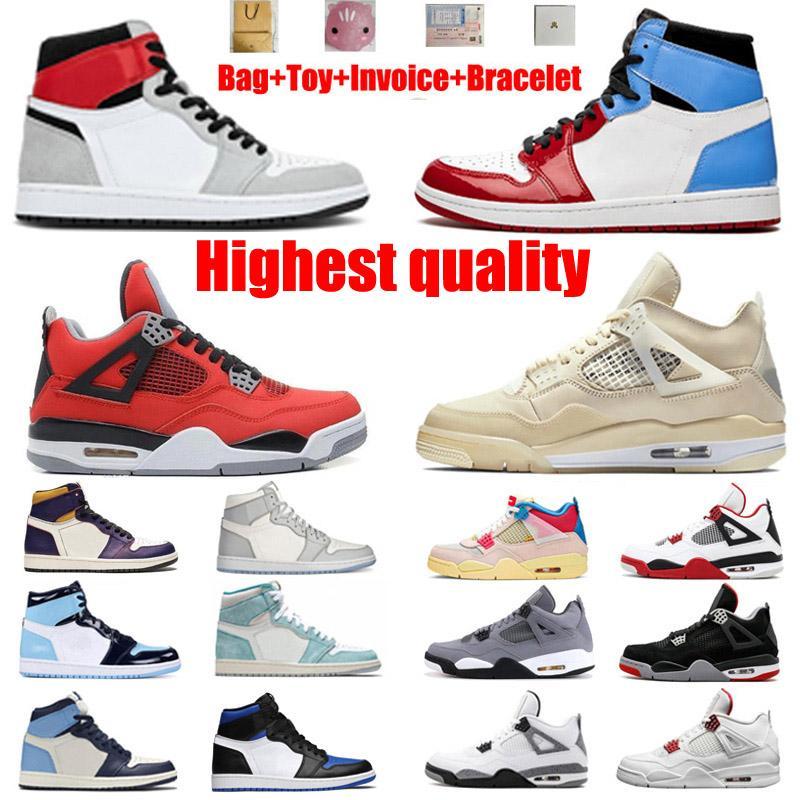 Zapatillas de baloncesto de Jumpman 1 1s Travis Scotts 4 4s Union Noir Guava Ice Obsidian ONC Ingrense Shipping with Box Men's y la mejor calidad de la calidad 36-46 y la mitad