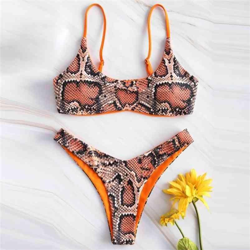 Frauen Sexy Bikini Set Push Up Weibliche Badeanzug Snakeskin Print Swimwear Schwimmen Trennen Zwei Teil Brasilianischer Badeanzug 210324