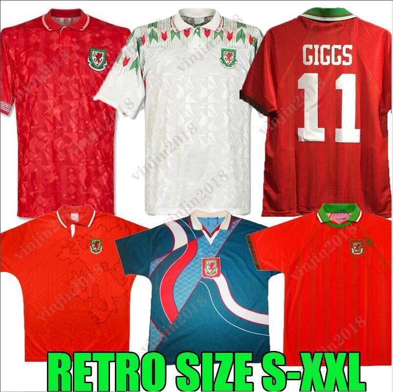 90 92 93 94 95 96 País de Gales Retro Jersey 1990 1998 1994 1995 1996 Maillot de pé casa fora giggs Hughes Saunders Rush Boden Speed Vintag