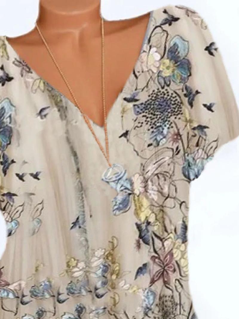 T Shirt 2021 V-NE Flower Flower Pájaro Impresión cómoda Gran Camiseta suelta