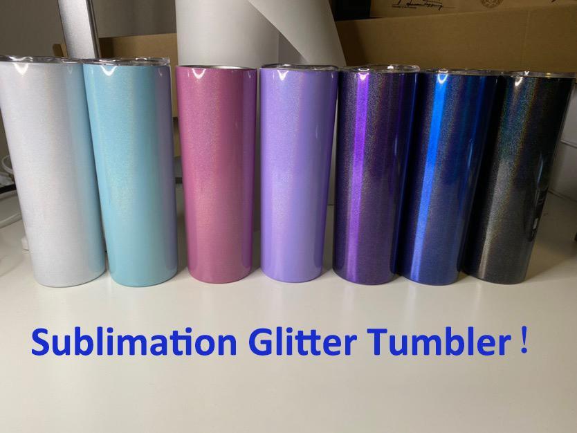 Sublimation Tumbler 20oz Glitter Tumblers Doppelwand Edelstahl Wasserflasche Rainbow Becher Vakuum isoliert Bier Kaffeetassen mit Stroh Großhandel in Masse