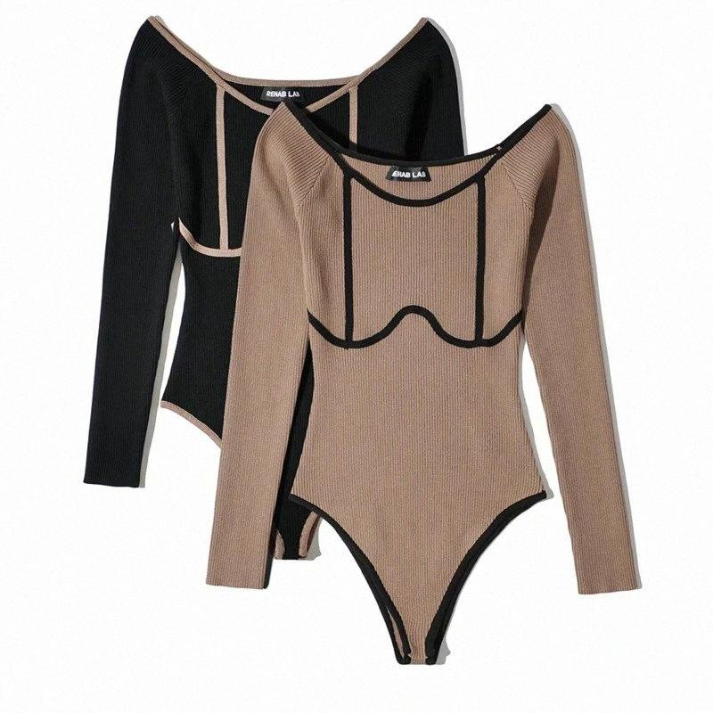 Sexy Round Color Contrast Color Knitted Bodysuits Women Slim Long Sleeve Jumpsuit 2020 Autumn New Ladies One-pieces Jumpsuits E5ou#