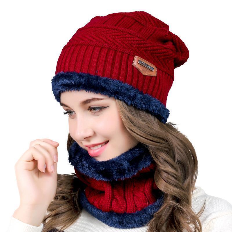 Beanie / Kafatası kapaklar iki parçalı kış kadın örgü şapka sonbahar yün kap moda balaclava erkek toptan