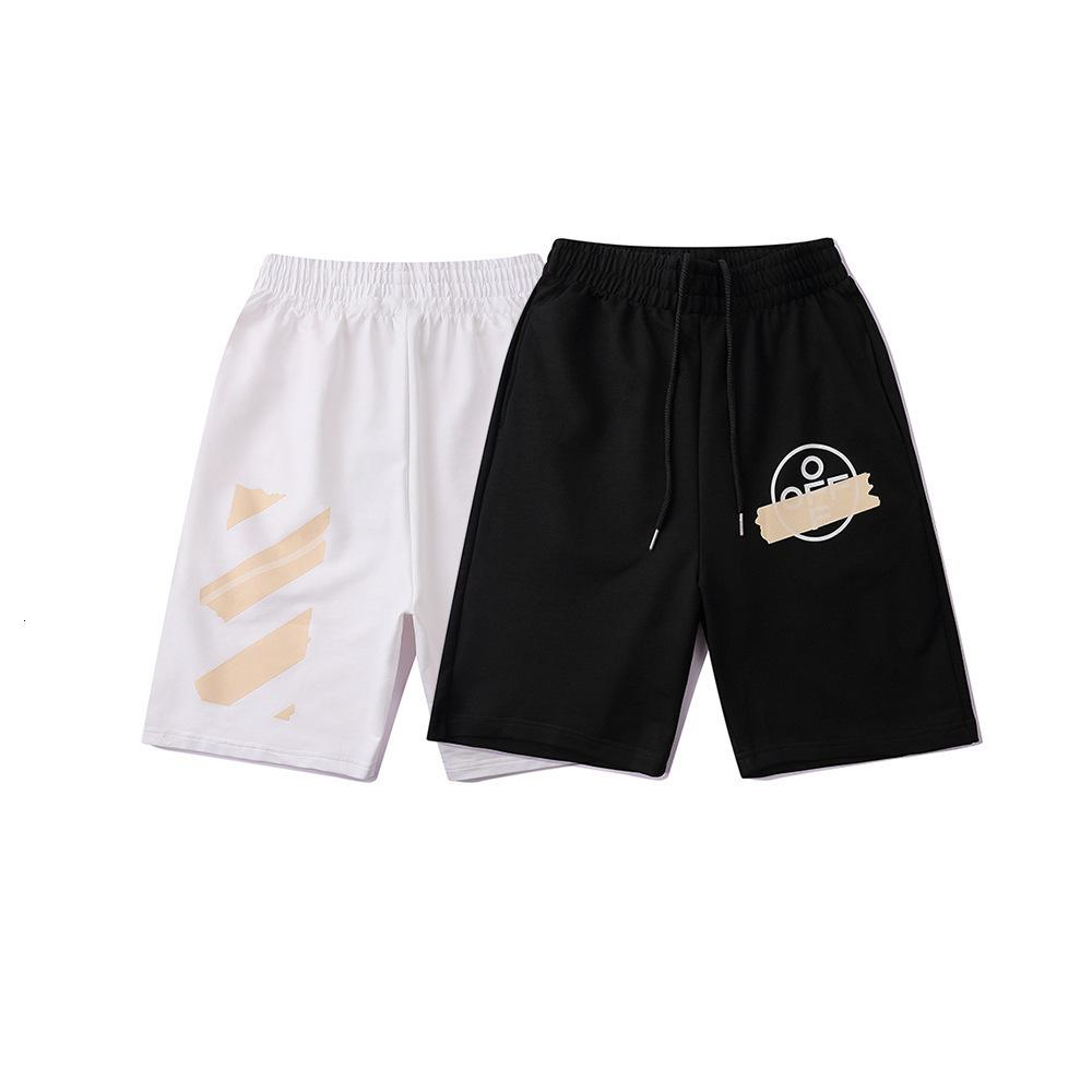 2021 Summer Trend New Off nastro dorato Graffiti Capris Style da uomo e pantaloncini sportivi da donna