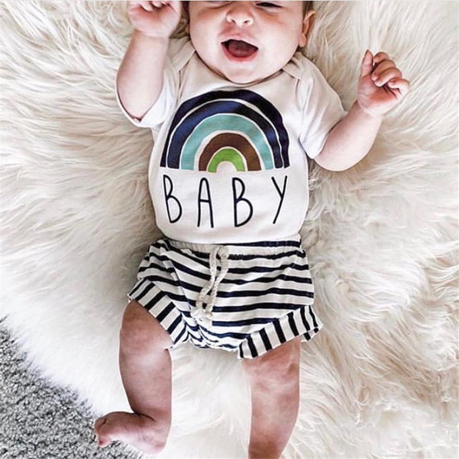 GRH INS Summer Printing Newborn Boys Girls Romper Toddler Infant Bodysuits Short Sleeve Clothing Baby Kid Jumpsuits Overall Casual Outfits