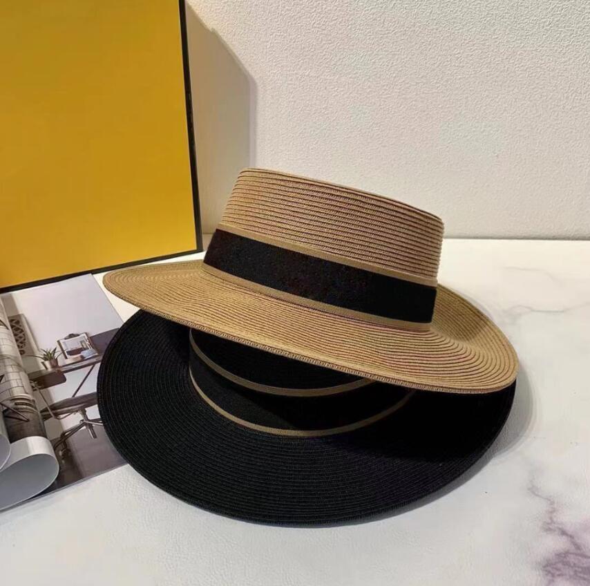 Moda dokuma geniş kenarlı şapka metal moda geniş kapak ebeveyn-çocuk düz üst vizör dokuma hasır şapkalar