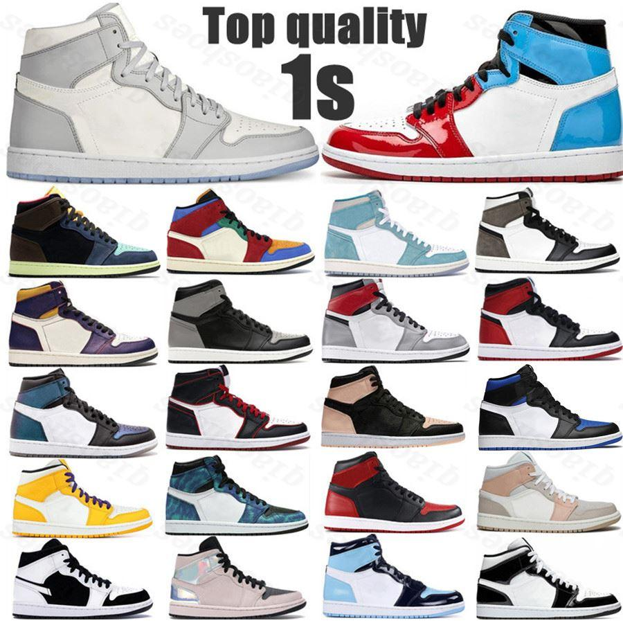 HOT 2021 NEW basketball shoes 1s top Obsidian UNC Fearless PHANTOM TURBO GREEN 1 Backboard PHANTOM GYM RED sport sneaker trainer size 36-46