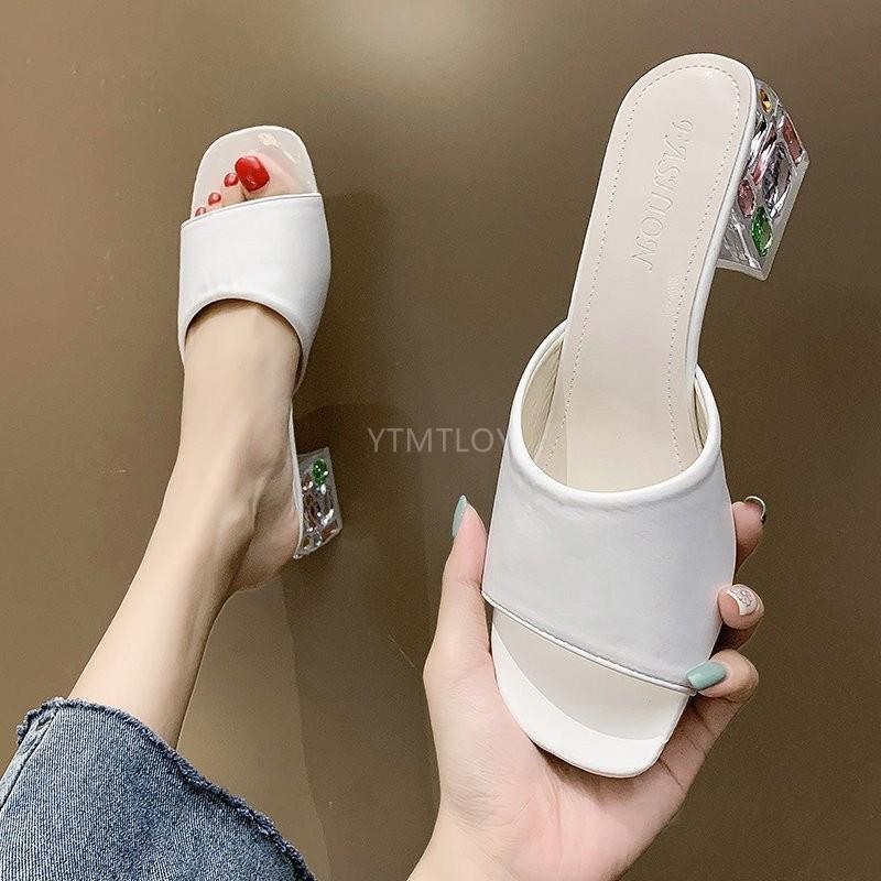 Sandalias Señoras Crystal Toe Open Toe Sexy Tacón alto Zapatos Casual Zapatos GRUESOS OFERTE ZAPATILLAS MUJER CASA