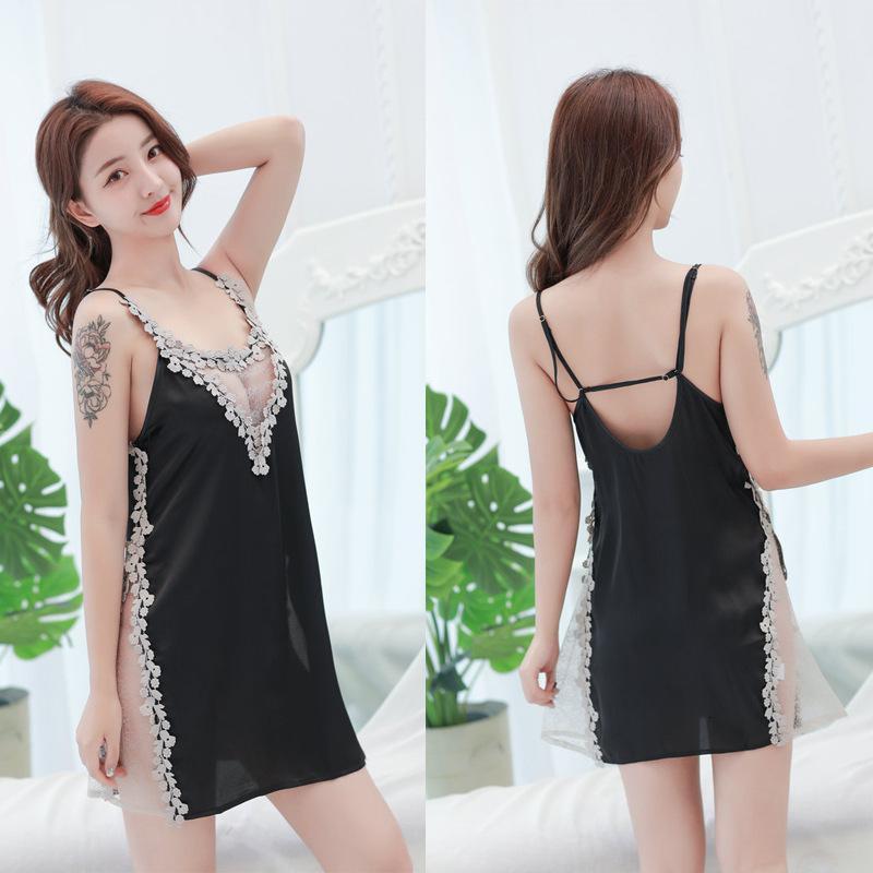 Ropa de dormir divertida mujer ropa interior sexy pequeño pecho perspectiva lace split suspender falda corta abierta ba noche tentación traje