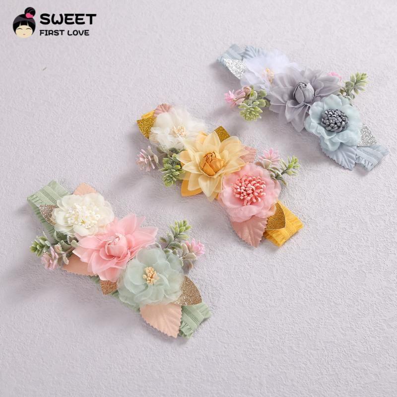 Flower Born Headbands For Baby Girls Cute Floral Leaf Elastic Hair Bands Kids Girl Korea Fashion Accessories