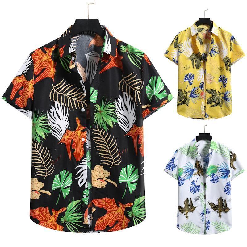남성 하와이 셔츠 캐주얼 해변 짧은 소매 Aloha 셔츠 남성용