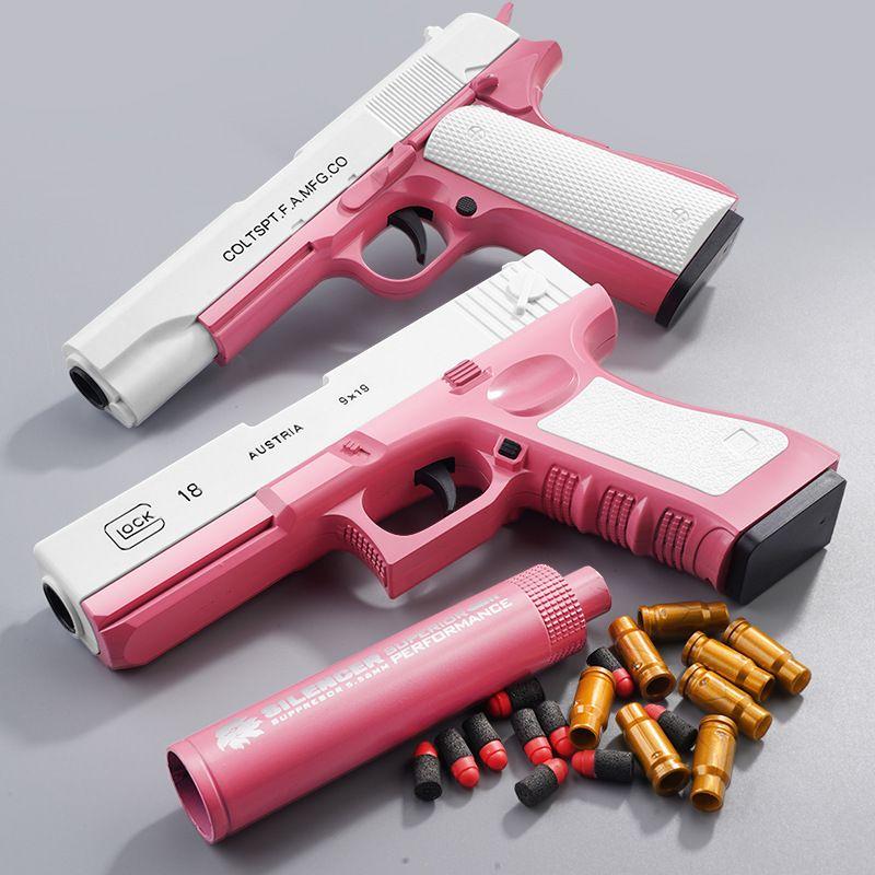 Pistola manuale EVA morbido proiettile arma giocattolo pistola Airsoft sparatura pneumatica con silenziatore per bambini bambino adulto cs combattimento