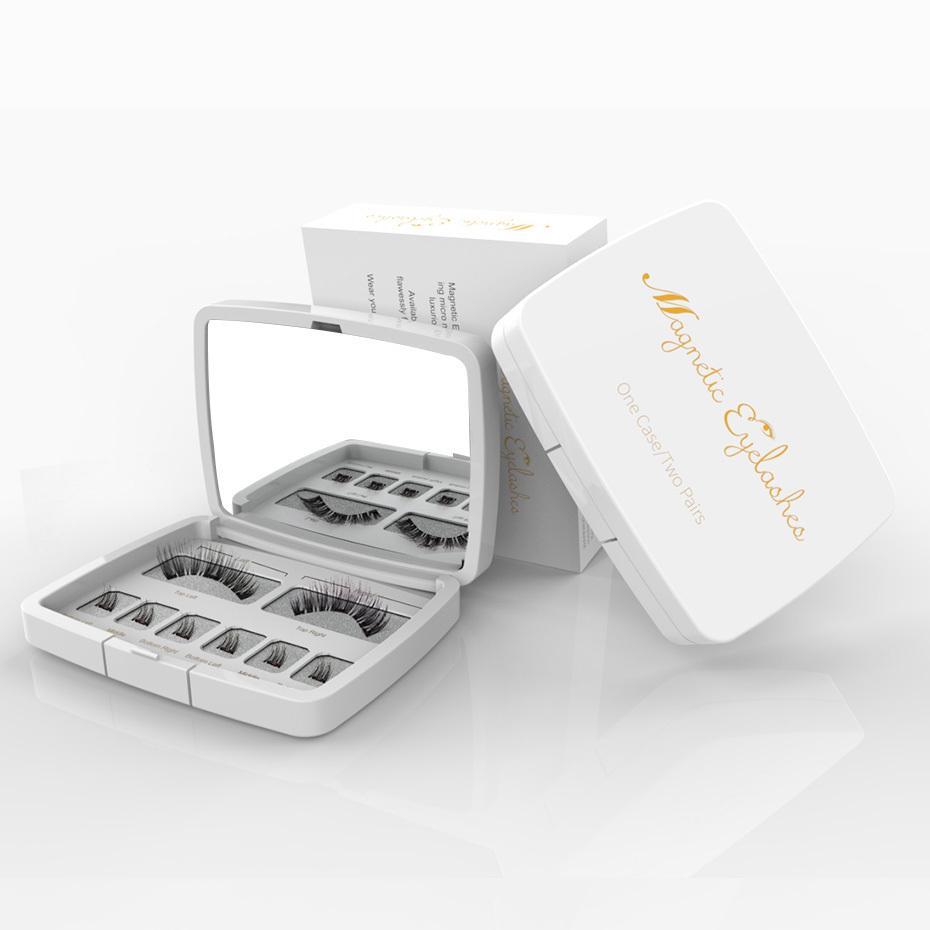 Eyelashes Falsos Magnéticos Olhos cheios 3D Natural 3 ímãs Lashes falsos longos com pinças para dropshiping maquillage box empacotamento