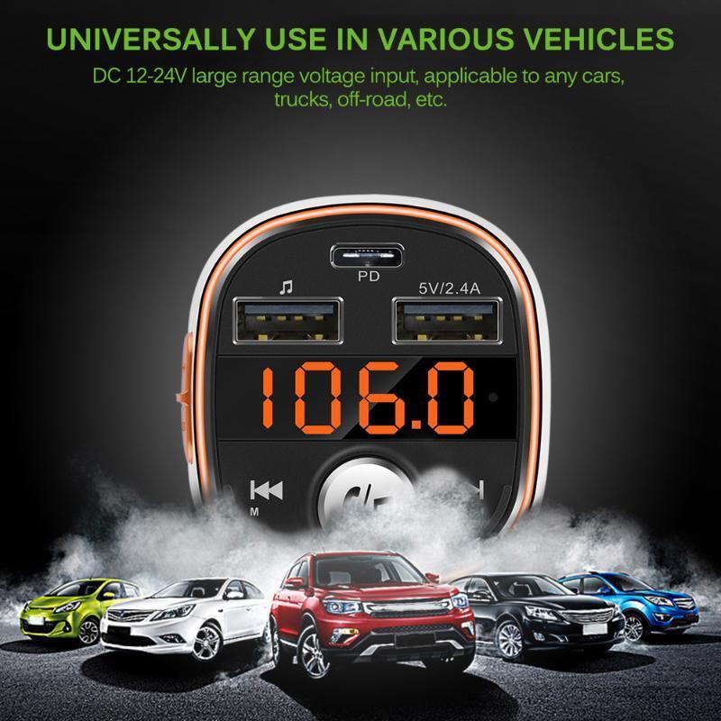 Bluetooth Car MP3 Player Sem Fio FM Transmissor Carregador Hands-Free EQ Mode Com Dual USB Portas PD Interface MP4 players
