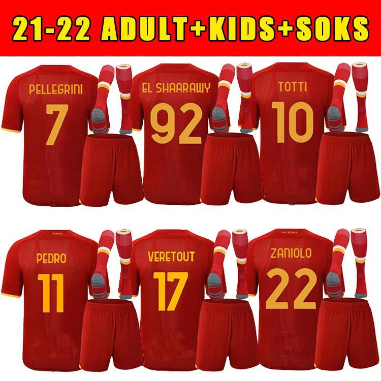 21 22 SHOMURODOV Jersey Soccer Matias Matias Viña Home Zaniolo Roma Dzeko Pastore Roma Totti Kolarov come camicia da calcio 2021 2022 Uomo Kid kit + calzini Uniformi Maillot Tops