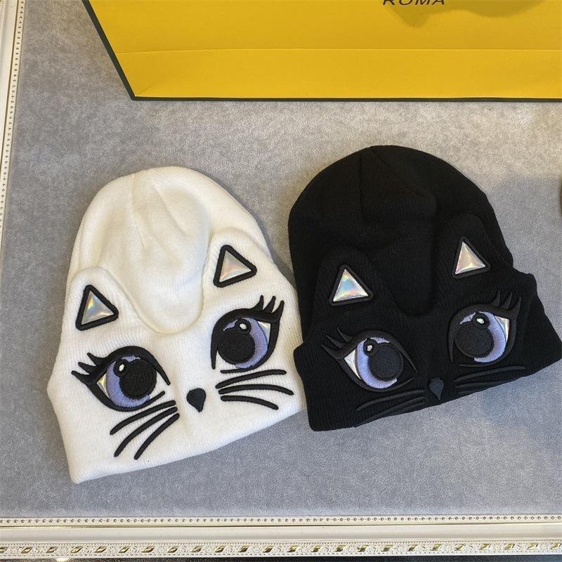 02CO Осень и зима Новый сладкий милый большой глаз кошка вязаные женские корейские повседневные универсальные утолщенные теплые шерстяные шляпа