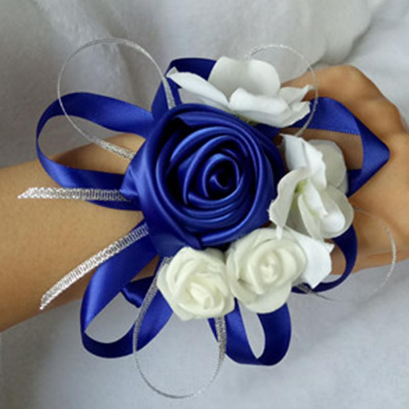 Handmade 10 Pces/lot Bridal Wedding Wrist Corsage Bridesmaids Sister Hand Flowers White Tiffany Blue Silver Decoration Decorative & Wreaths