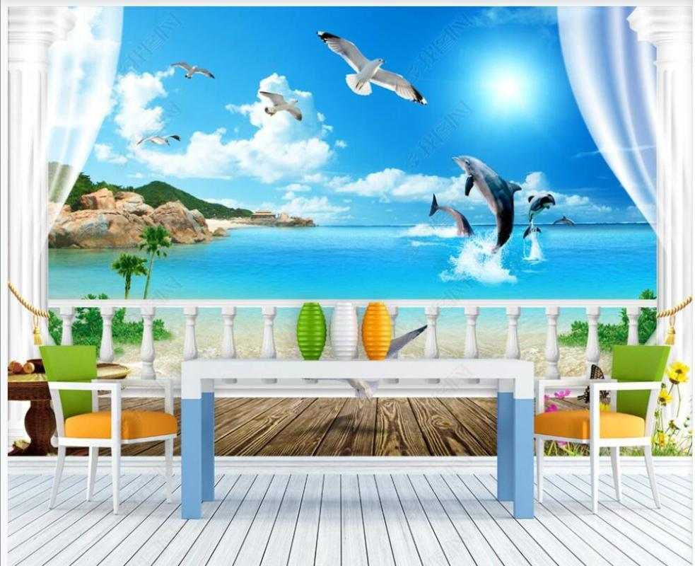 Wallpapers 3d Wallpaper Custom Po Mural Dreamy Sunshine Vacation Sea View Living Room Home Decoration For Walls In Rolls