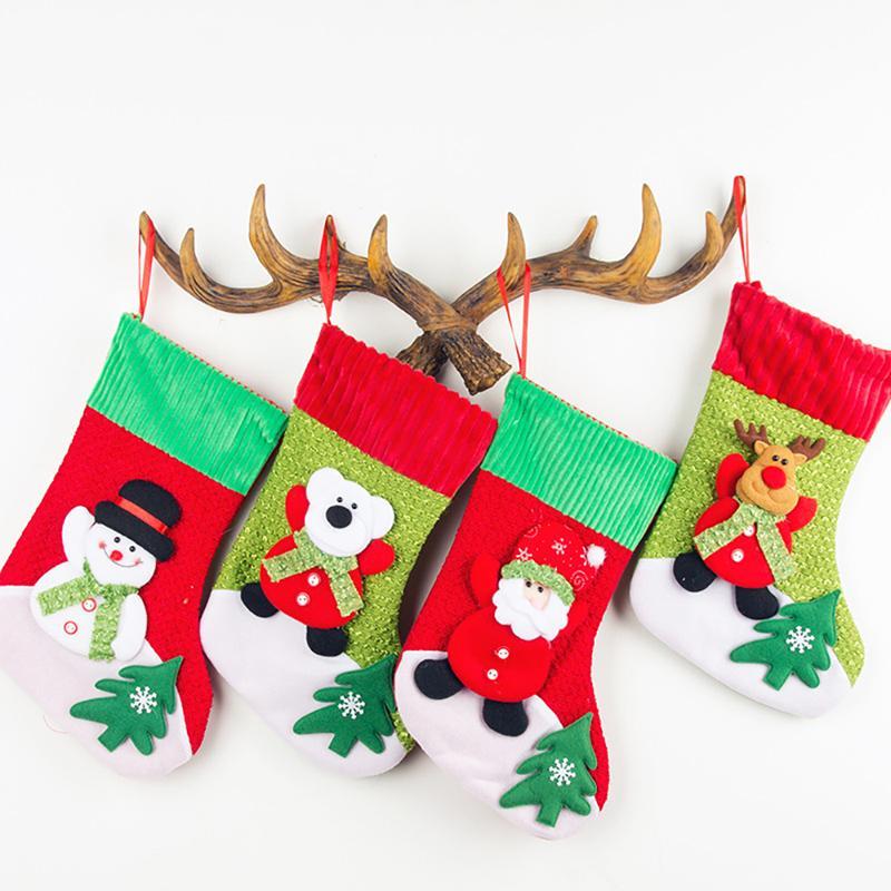 Frohe Weihnachten Geschenke Lager Strümpfe Kinder Bettdecke Candy Bags Home Tree Weihnachten Party Decor Socken 4 Arten