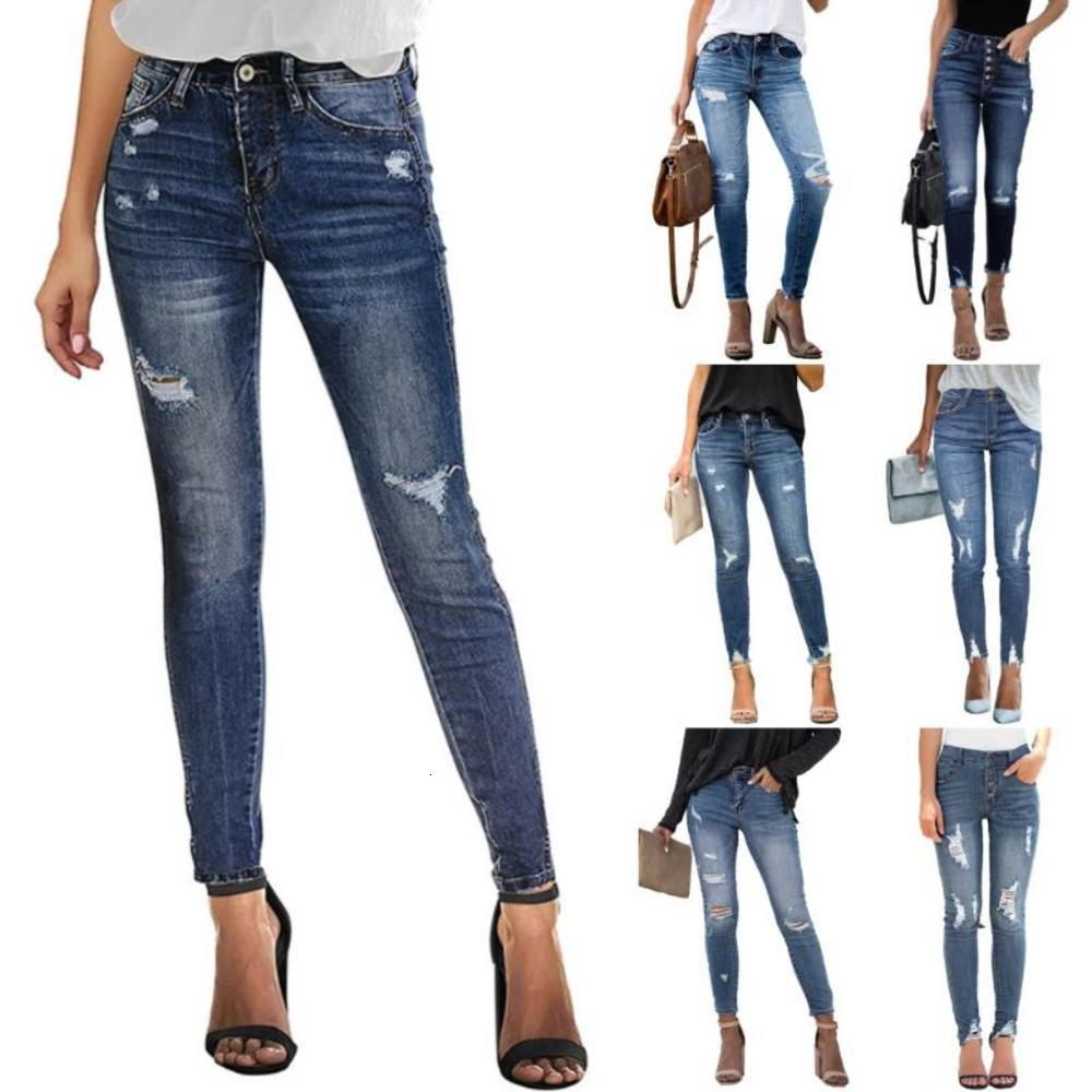 2021 Jeans Skinny das Mulheres Moda Casual Elastic Slim Denim Jeans Ankle-Comprimento Lápis Pants S-2XL Drop Shipping