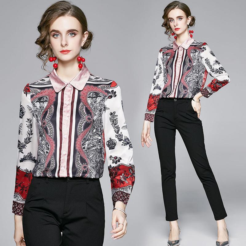 럭셔리 패션 활주로 인쇄 셔츠 여성 디자이너 우아한 블라우스 슬림 봄 가을 캐주얼 숙 녀 거리 스타일 셔츠 품질 긴 소매 사무실 아름다운 탑스