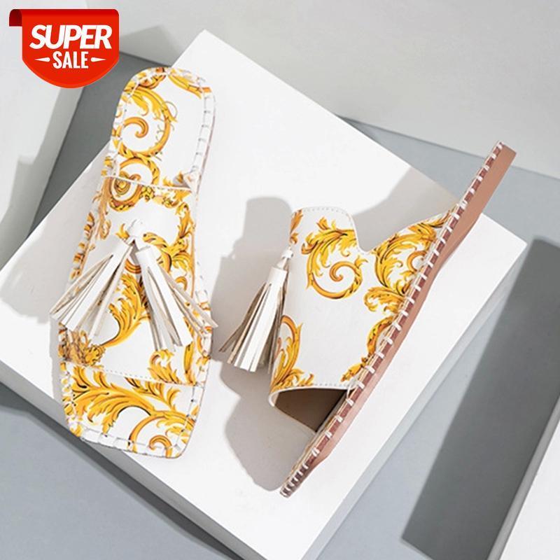 Summer Femmes Pantoufles de luxe Fleurs Tassel Design Pantoufles plats 2021 Sandales de vacances de style romain pour femmes chaussures # 6k6g