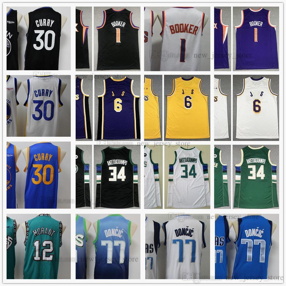 Juventud Boys Mens Baloncesto 1 Devin 30 Stephen Booker Curry Jerseys Stitched Kids 34 Antetokounmpo 77 Doncic Ja 12 Morant James Jersey