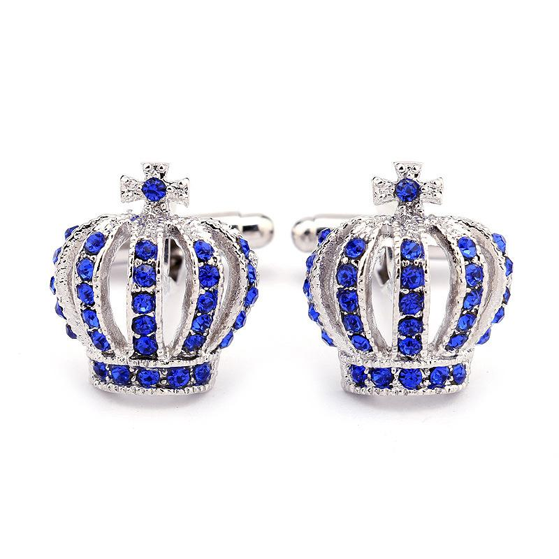Mens Cufflinks Fathers Day Gifts Full Rhinestones Crown Shirt King Queen Wedding Groom Tuxedo Jewelry Fashion Classic French Crystal569 T