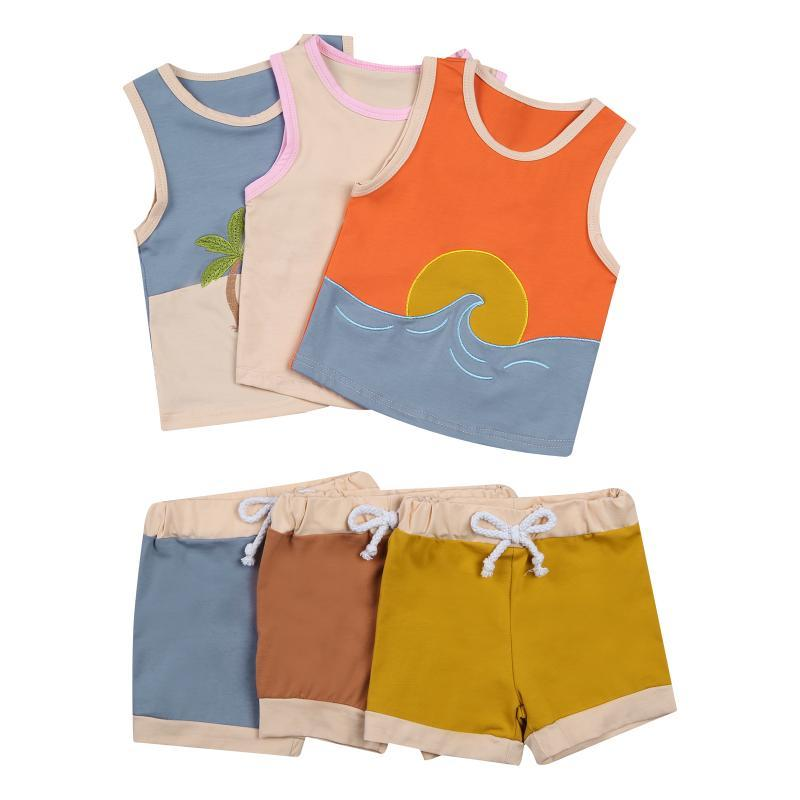 어린이 아이들 소녀 두 조각 세트 아이의 조끼 탱크 탑 허리 탄성 레이스 위로 반바지 Beachwear 여름 0-5Y 의류 세트