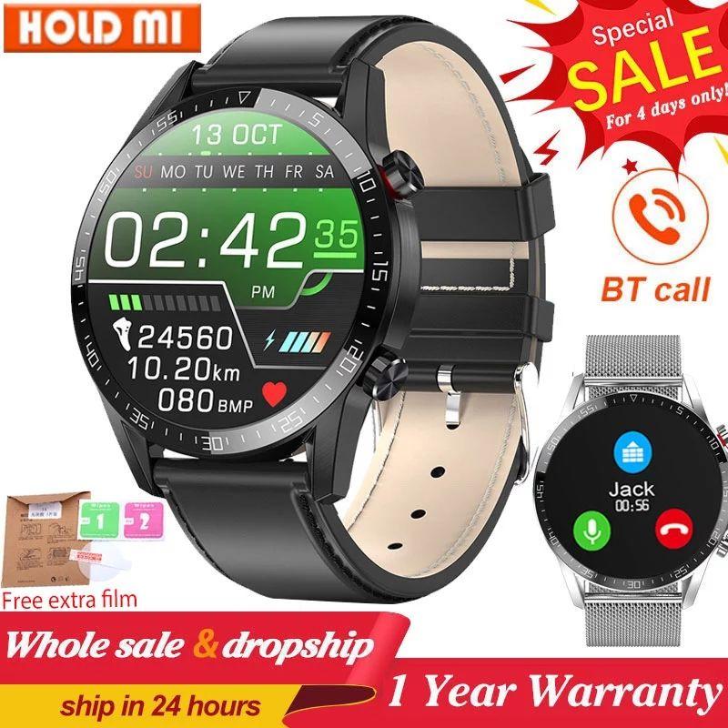 비즈니스 스마트 시계 남자 블루투스 호출 IP68 방수 ECG 압력 심박수 피트니스 트래커 스포츠 Smartwatch