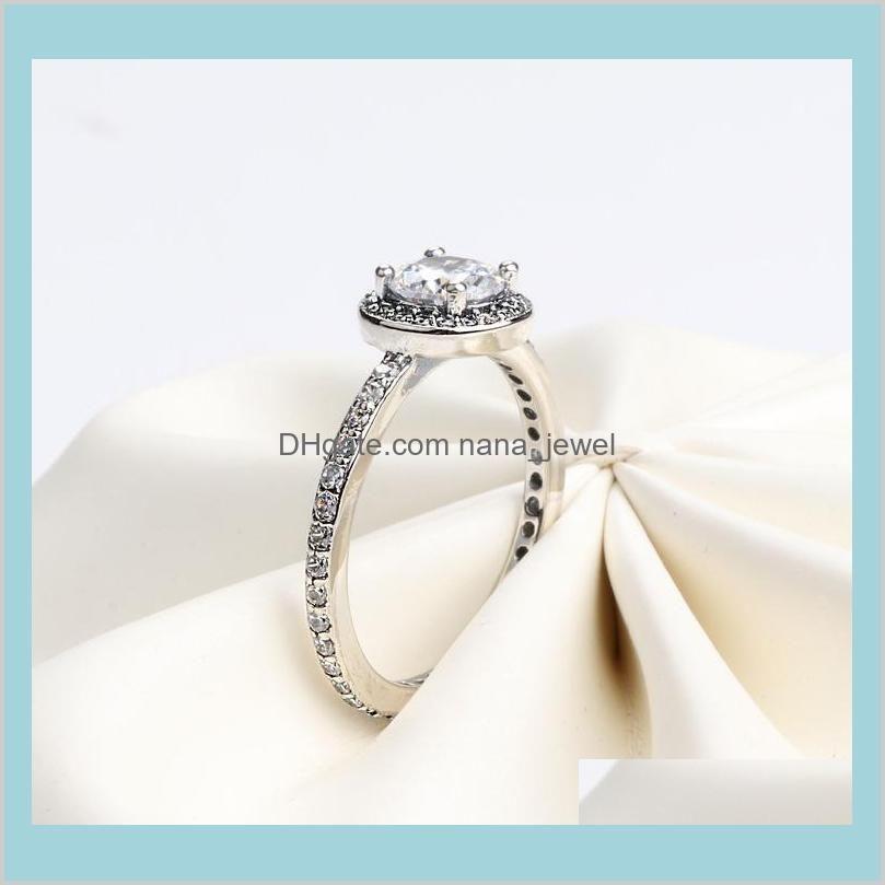 Autêntico 925 Sterling Silver CZ Diamante Anel de Casamento com Logotipo Caixa Original para Pandora Prata Jóias Presente de Natal para Mulheres Meninas CDAPW