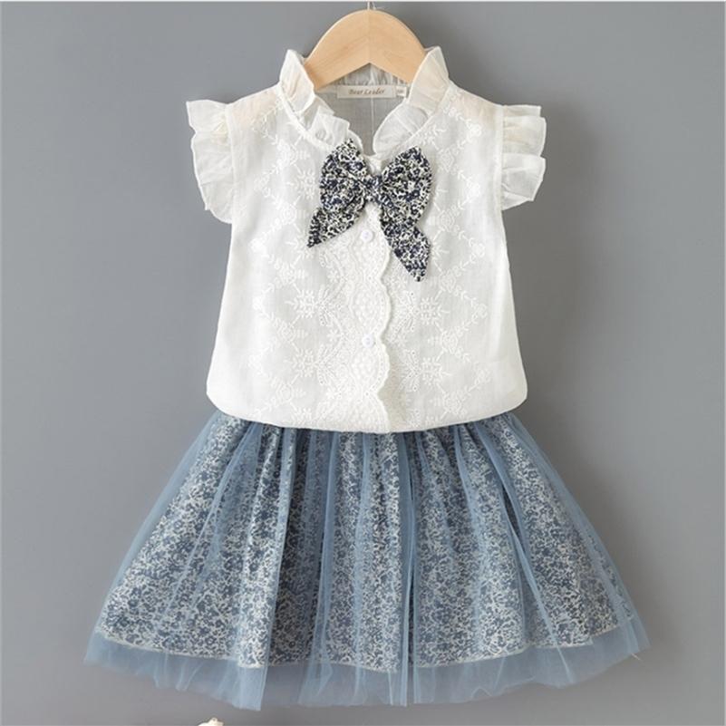 Focercnorm 2-7y verano encantadoras para bebés ropa de bebé conjuntos de ruffles sin mangas de cordón solteras camisas de pecho flores Faldas de impresión 210326