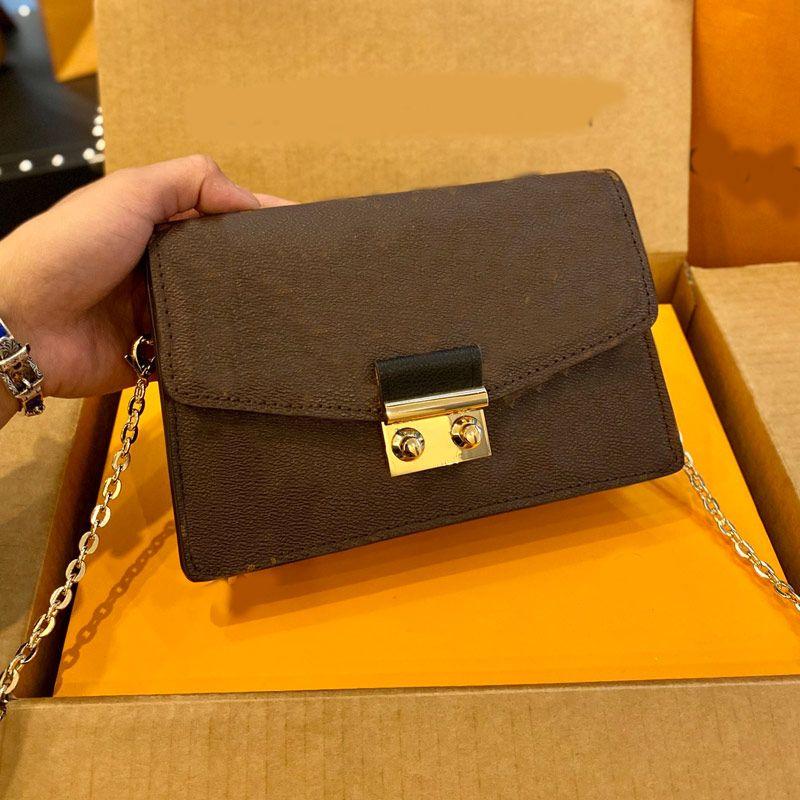 여성 가방 체인 패키지 단일 어깨 경사 스팬 가방 패션 패치 워크 격자 무늬 색상 골드 하드웨어 Hasp 그레인 정품 가죽